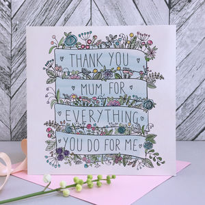 Floral Banner Mother's Day Card - mother's day cards