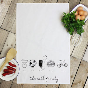 Personalised 'Hobbies' Tea Towel