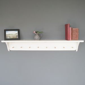 Coastal Cottage Style Shelf With Wooden Pegs - office & study