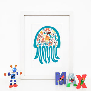 Jellyfish, Illustrated Giclée Wall Art Print - posters & prints