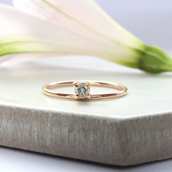 Airlia 9ct Rose Or Yellow Gold Offset Diamond Ring