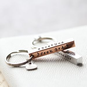 Personalised Copper Bar Keyring - mens