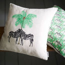 Tropical Zebra And Palm Cushion