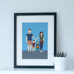 Personalised Family Portrait Illustration Print - whatsnew