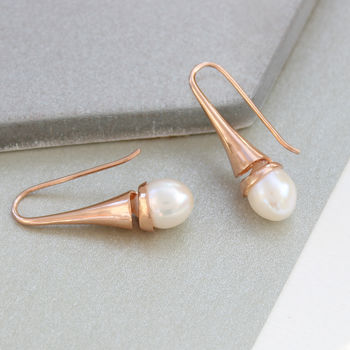 Cone Swirl Earrings With Freshwater Pearls