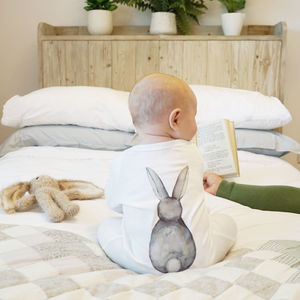 Bunny Rabbit Back Watercolour Baby Sleepsuit - easter gifts for children