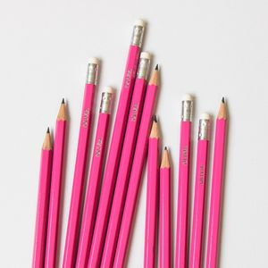 12 Personalised Premium Pink Pencils - pens & pencils
