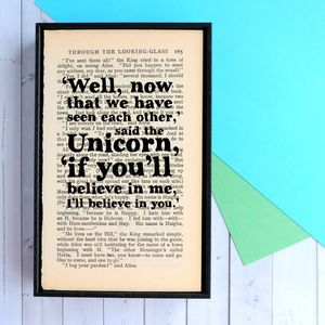 Alice In Wonderland Unicorn Framed Book Page Print - gifts for her sale