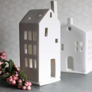 Porcelain Tall Tea Light Holder House With Chimney - dining room