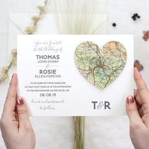 Personalised Map Location Heart Wedding Invitation