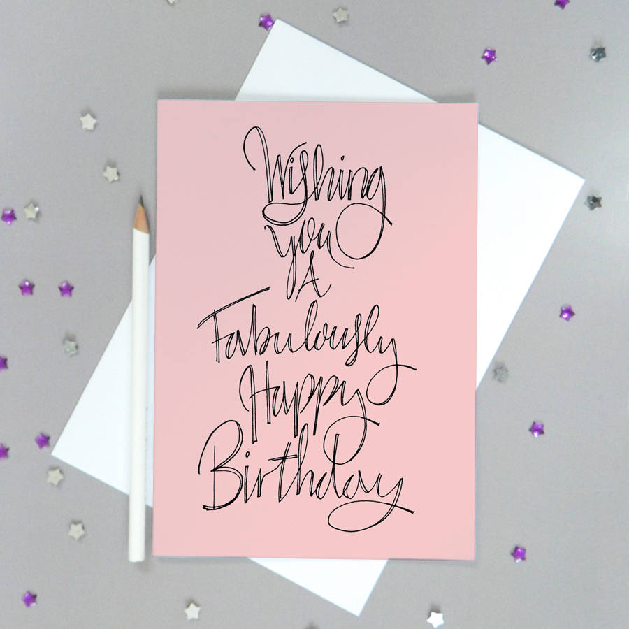 Pink Fabulous Birthday Card By De Fraine Design London