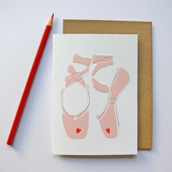Ballet Shoes Heart Greeting Card