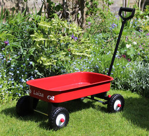 Red Pull Along Metal Cart