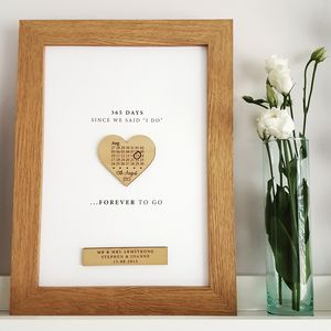 First Paper Anniversary Calendar Heart Print - by year