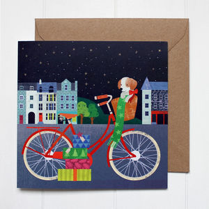 Red Bike In Edinburgh Christmas Cards