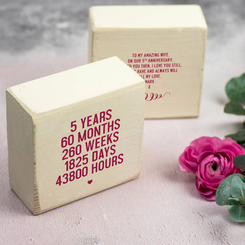 Personalised 5th Anniversary Wooden Keepsake Gift