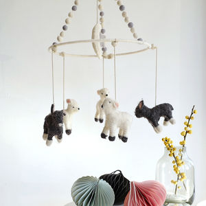 Felted Wool Little Lamb Mobile - toys & games