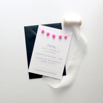 Pom Pom Party Invitations