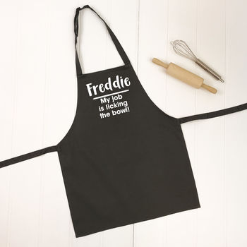 'Licking The Bowl' Personalised Kids Apron