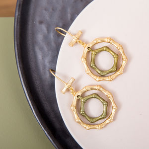 Bronze And Gold Plated Bamboo Earrings - earrings