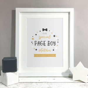 Page Boy Keepsake Thank You Gift Print - page boy gifts