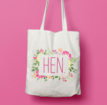 Floral Hen Bridesmaid Wedding Favour Tote Bag