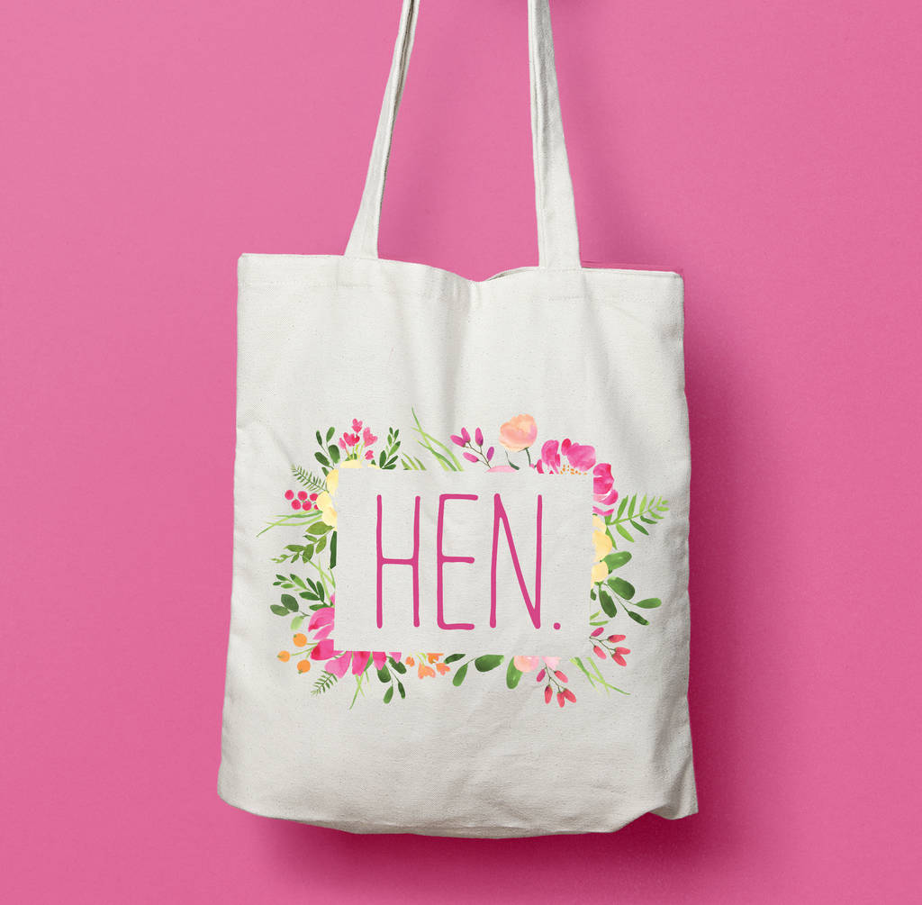 floral hen bridesmaid wedding favour tote bag by stephanie b designs ...
