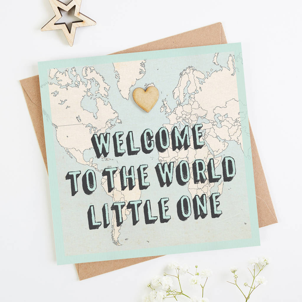 Welcome To The World Little One New Baby Card Blue By Normadorothy