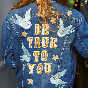 'Be True To You' Blue Bird Embroidered Denim Jacket - christmas free delivery to mainland UK