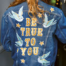 'Be True To You' Blue Bird Embroidered Denim Jacket