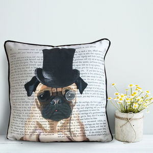 Pug Cushion, Formal Dog Collection - living room