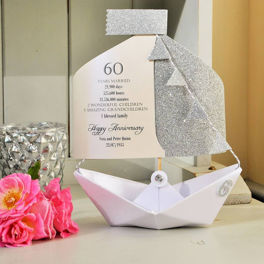 60th diamond wedding anniversary paper boat card by the little ...