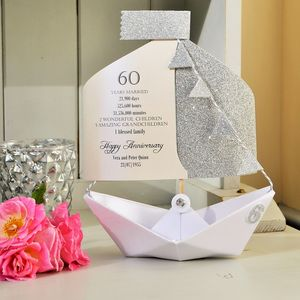 60th Diamond Wedding Anniversary Paper Boat Card - 60th anniversary: diamond