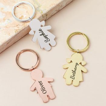 Personalised Engraved Family Character Keyring