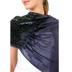 Womens Sequin Scarf, Amelie, Navy/Black, Custom Colours