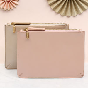 Personalised Luxury Pearlised Leather Clutch Bag