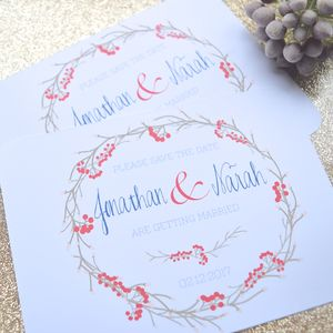 'Red Berry Wreath' Save The Date Wedding Cards