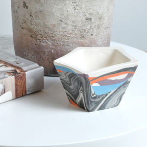 Handmade Geometric Marbled Porcelain Planter - living room