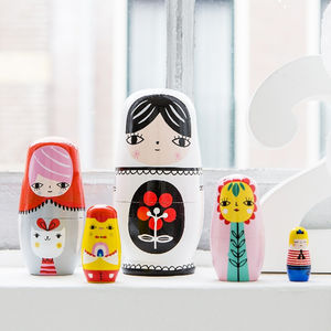 Hand Made Fleur And Friends Nesting Dolls - traditional toys & games