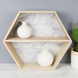 Marble Effect Wooden Hexagon Wall Shelf - shelves