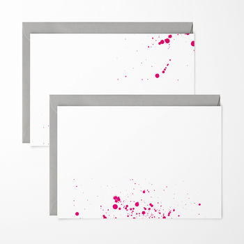 Neon Pink Ink Splash Note Cards Pack Of Six