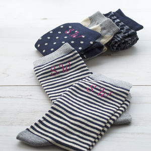 Set Of Four Women's Monogram Socks - socks