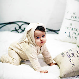 Personalised Bunny Winter Hooded Jumpsuit - for babies & children