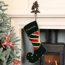 Personalised Green Velvet Jingle Bell Elf Stocking