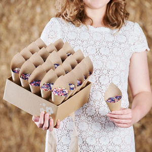 25 Biodegradable Confetti Cones Kraft Box - natural artisan styling