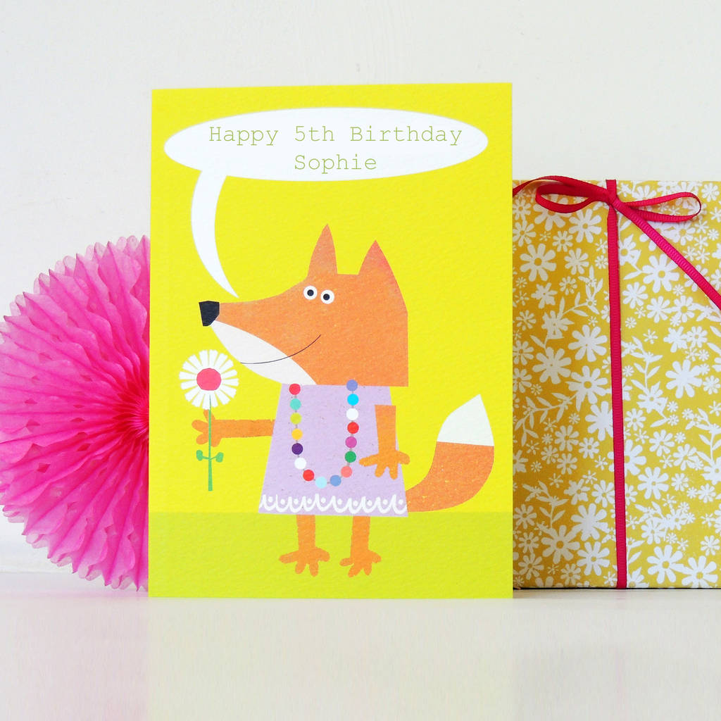 personalised bubble fox card by kali stileman publishing