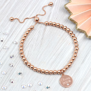 Rose Gold And Diamond Personalised Ball Bracelet - bracelets & bangles