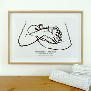 La Leche Personalised To Scale Breastfeeding Baby Print - drawings & illustrations