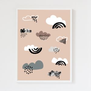 Clouds Blush Pink Children's Art Print