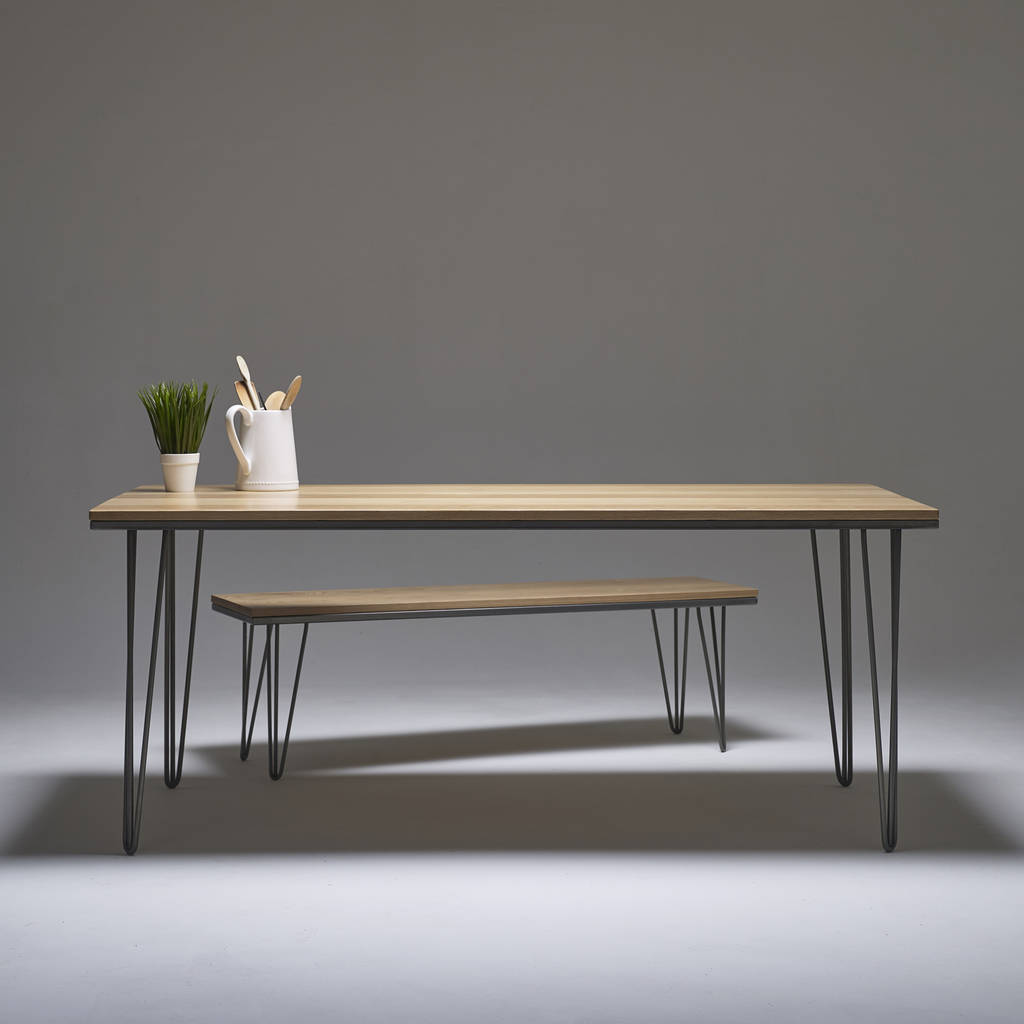 English Oak Dining Table Solid Hardwood With Steel Legs